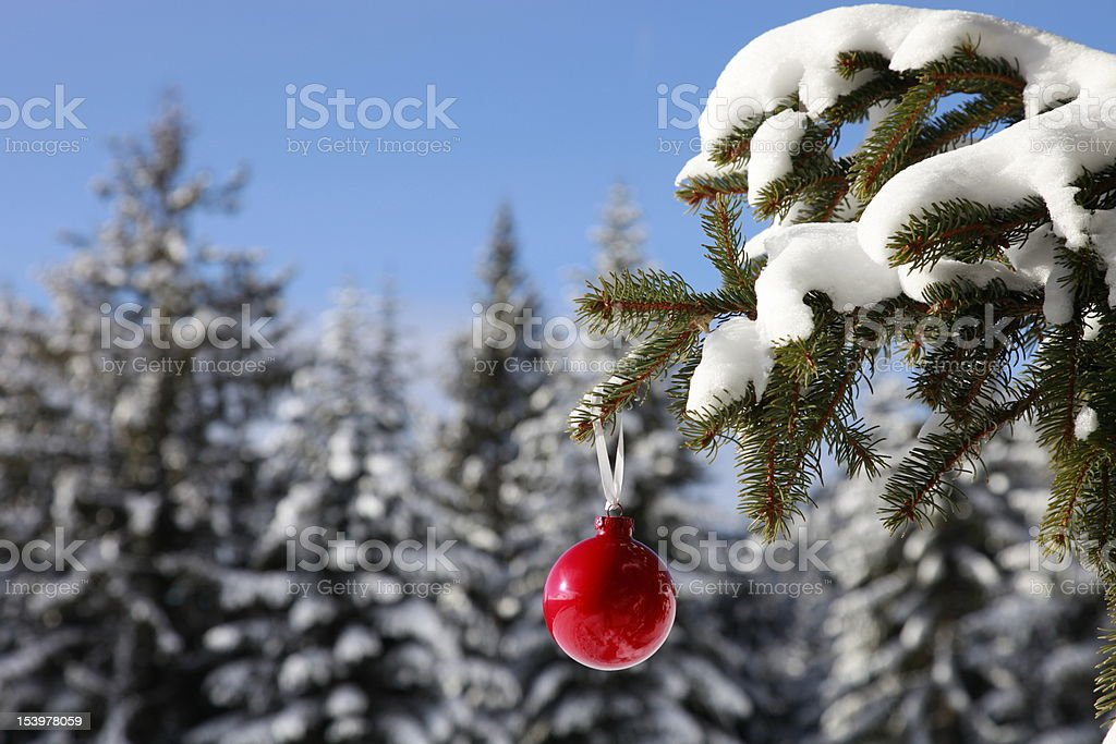christmas bauble in wonderful winter landscape fir royalty-free stock photo