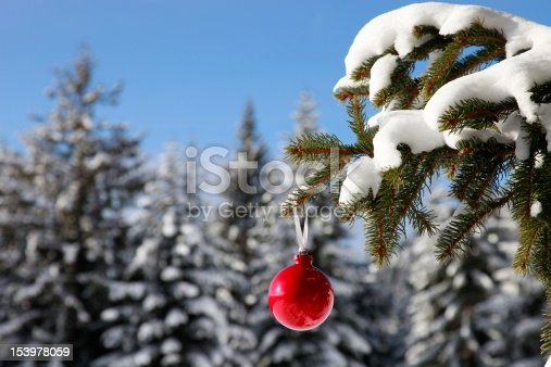 istock christmas bauble in wonderful winter landscape fir 153978059