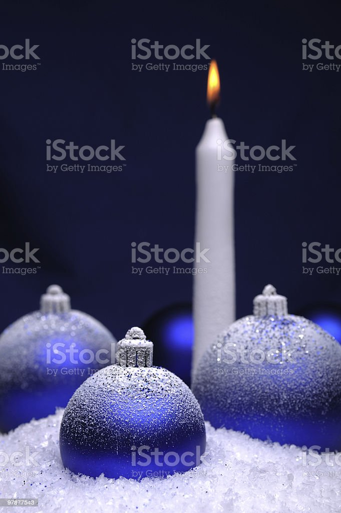 Christmas baubles and candle royalty-free stock photo