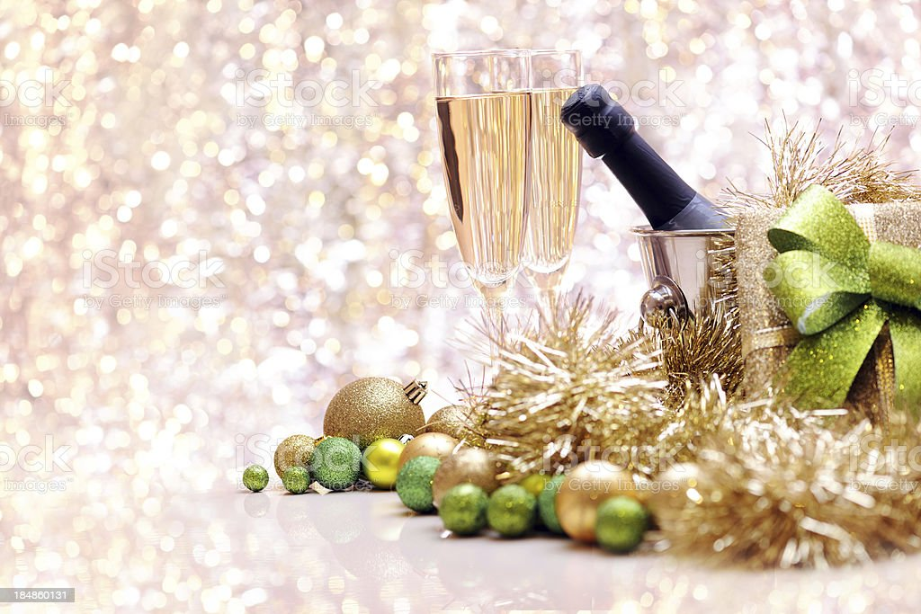 Christmas baubles and champagne with copy space royalty-free stock photo