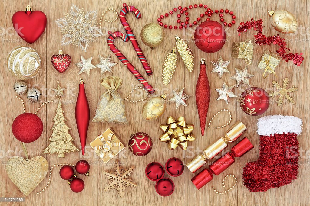 Christmas Baubles and Decorations stock photo
