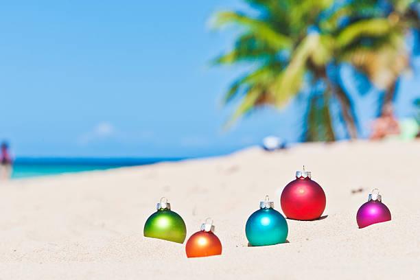 Christmas baubles at tropical beach in Las Terrenas, Dominican Republic stock photo