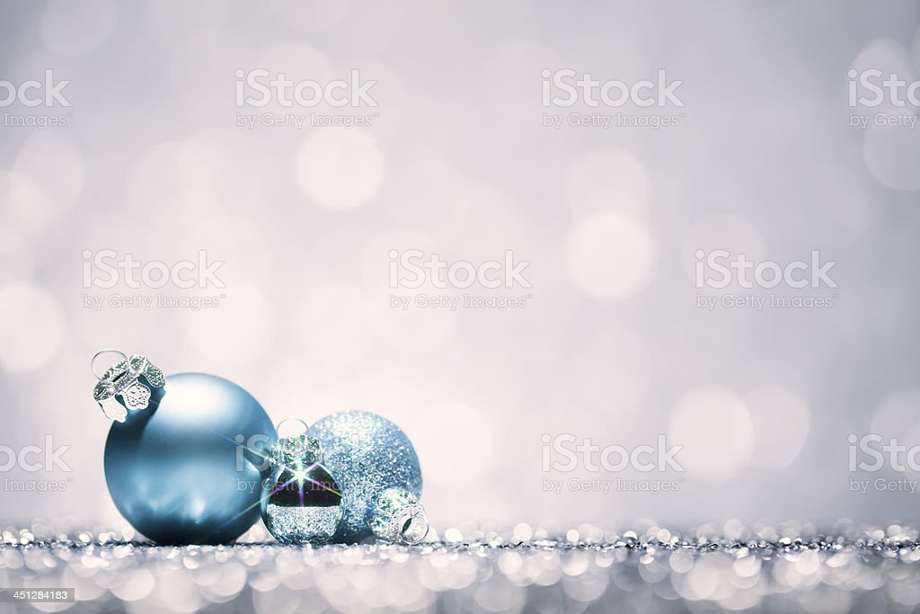Christmas Baubles - Blue Bokeh Defocused Decoration White royalty-free stock photo