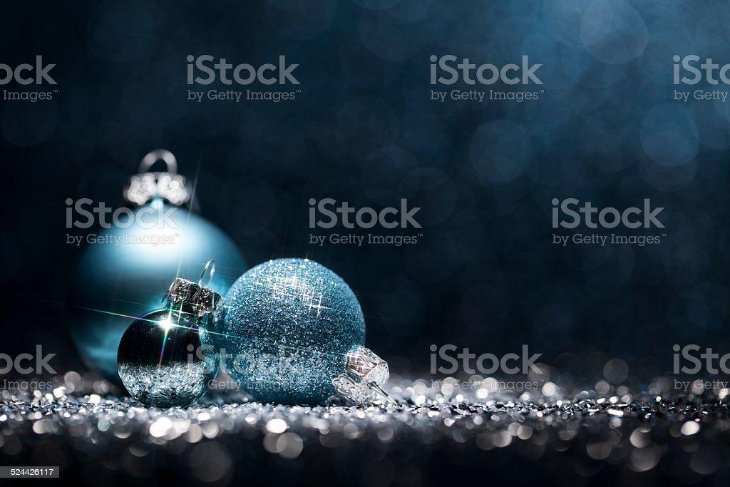 Photo de décorations de Noël basiques de carte Invitation de fête Bokeh Bleu flou décoration - Photo