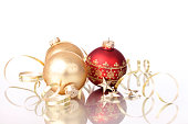 istock Christmas Baubles & Gold Ribbons (XXL) 173035269