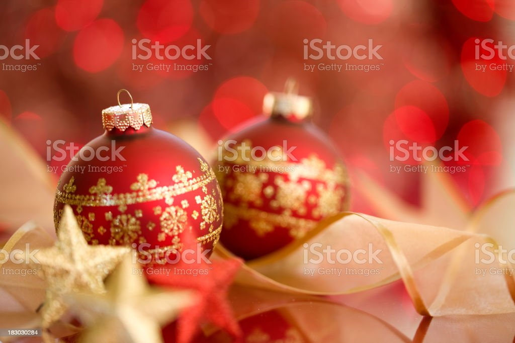 Christmas Baubles & Gold Ribbons royalty-free stock photo