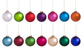 Christmas baubles large set of many colors isolated on white