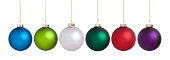 Christmas baubles large set isolated on white in red, purple, light green, green, white and blue