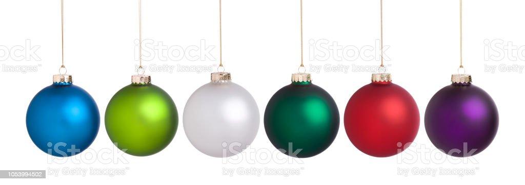 Große Weihnachtskugeln set Sammlung isoliert auf weiss – Foto
