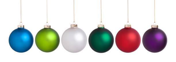 große weihnachtskugeln set sammlung isoliert auf weiss - weihnachtskugel stock-fotos und bilder