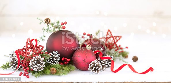 Christmas holiday baubles, festive and sparkling lights against a wood background