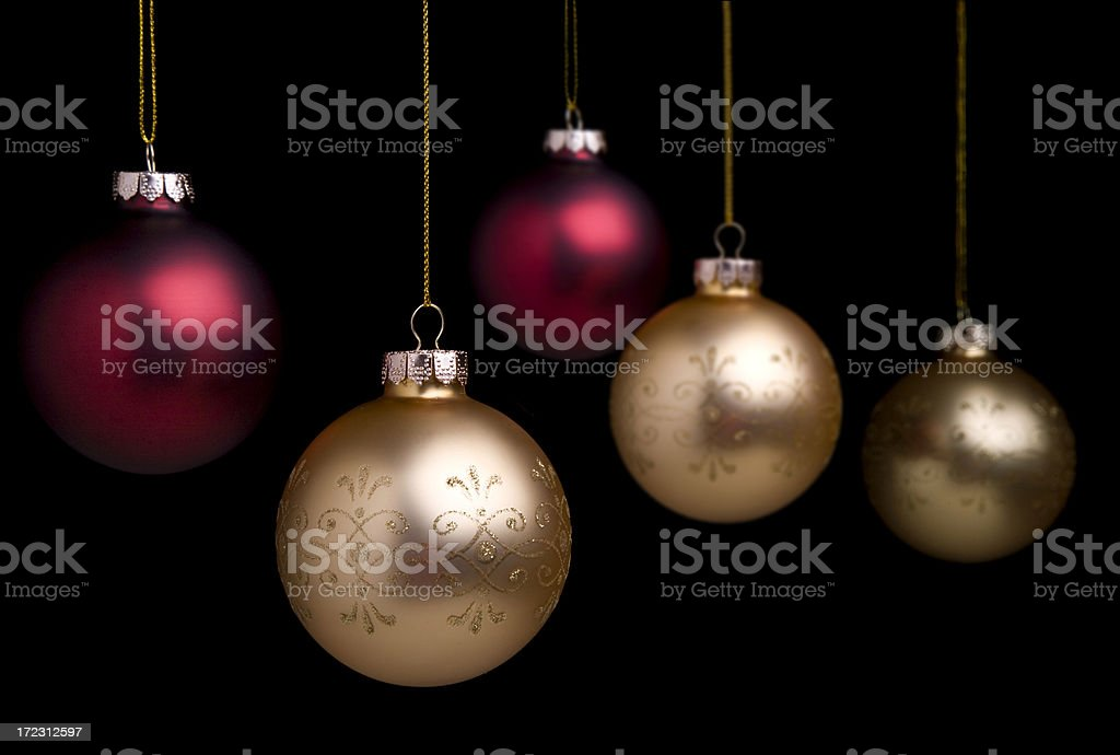 Christmas Baubles On Black (XL) stock photo