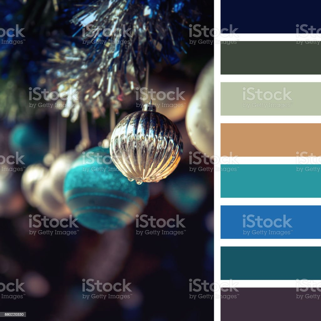 Christmas Baubles Palette Stock Photo   Download Image Now