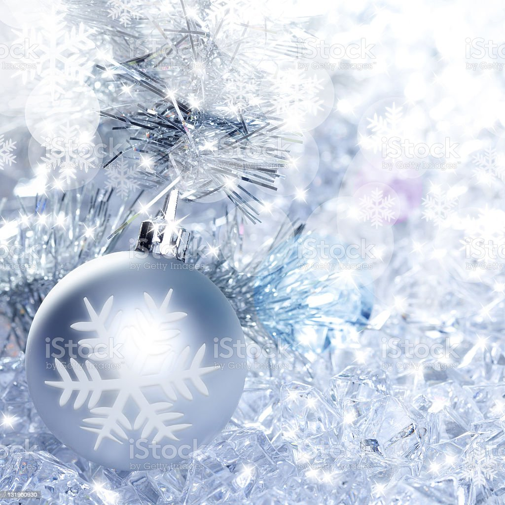 christmas baubles silver on winter ice royalty-free stock photo