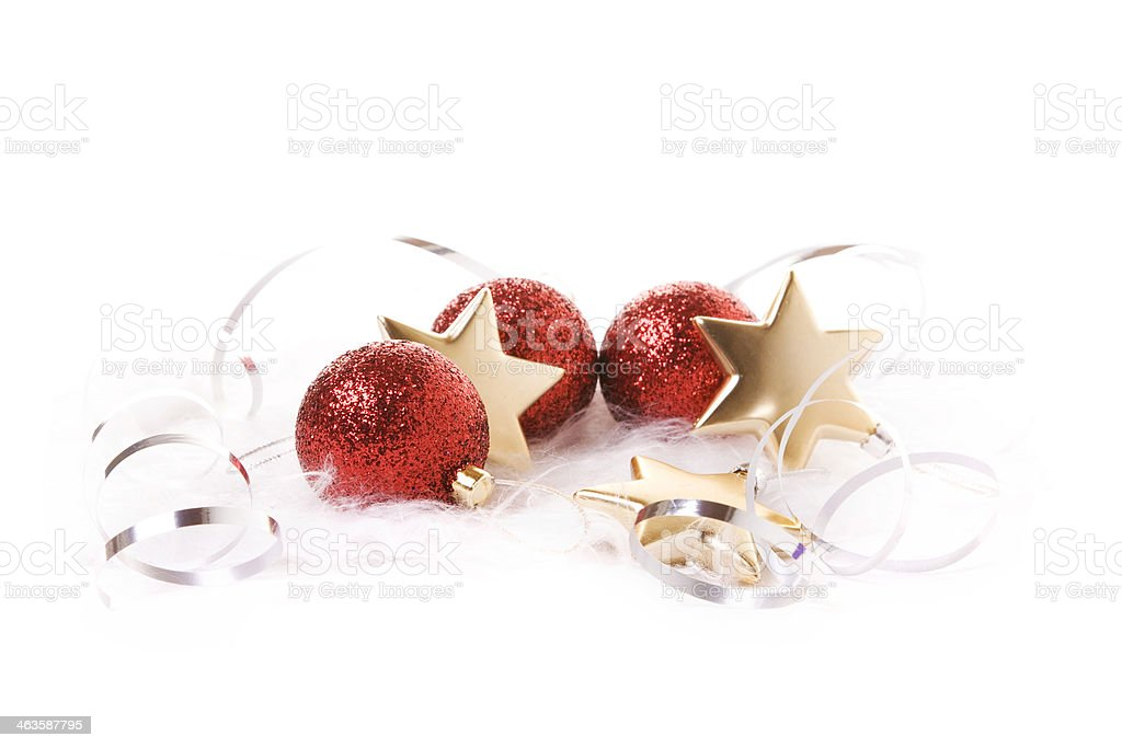 Christmas Baubles, Stars and ribbon royalty-free stock photo