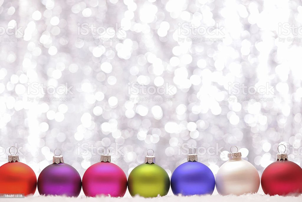 Christmas baubles with illuminated background royalty-free stock photo