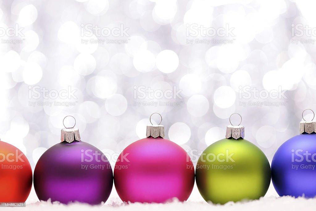 Christmas baubles with illuminated background royalty-free stock photo