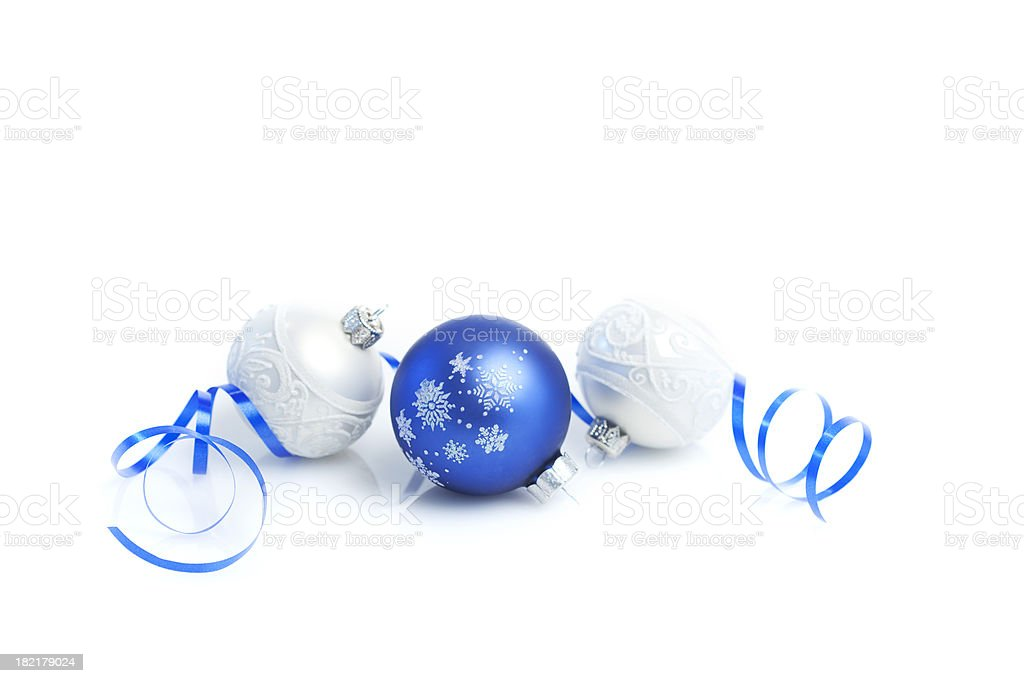 Christmas Baubles with ribbon stock photo