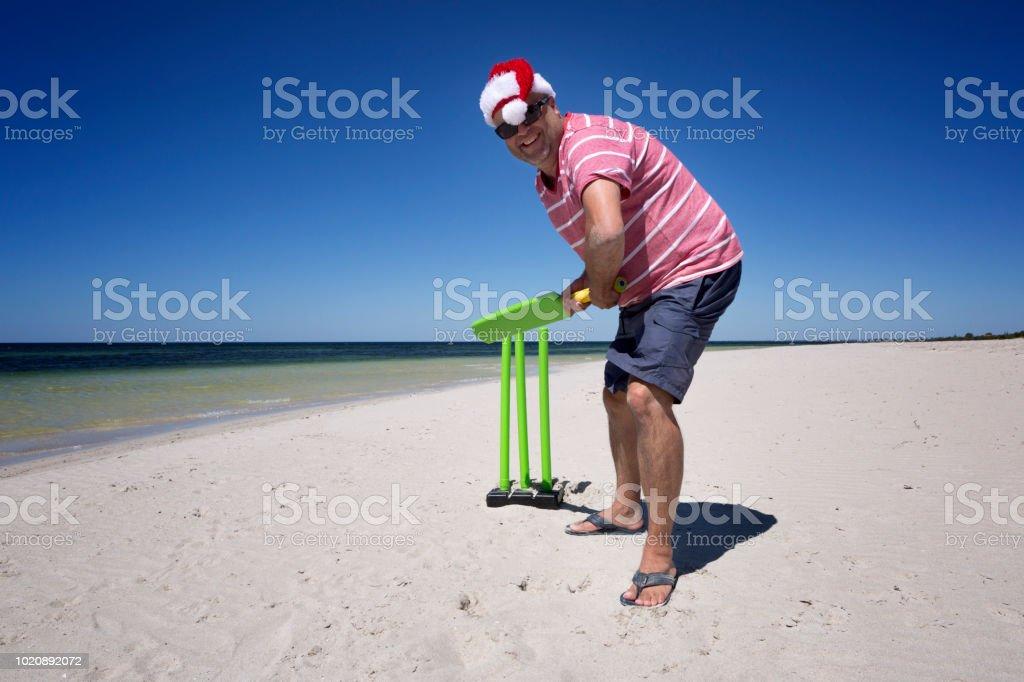 Christmas Beach Cricket. stock photo
