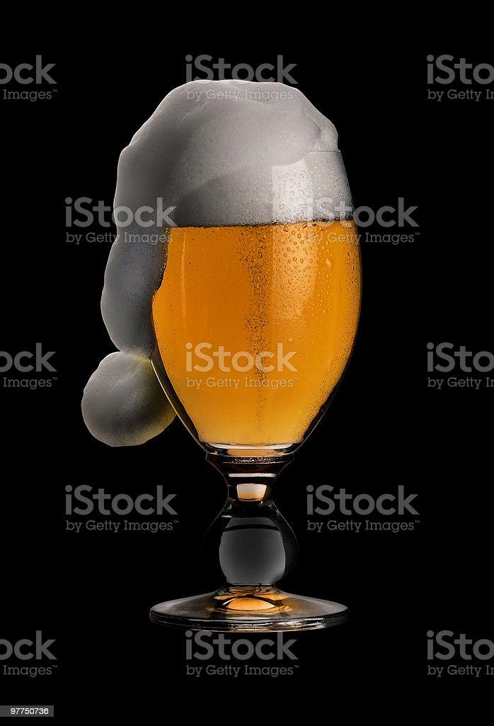 christmas beer in black back stock photo