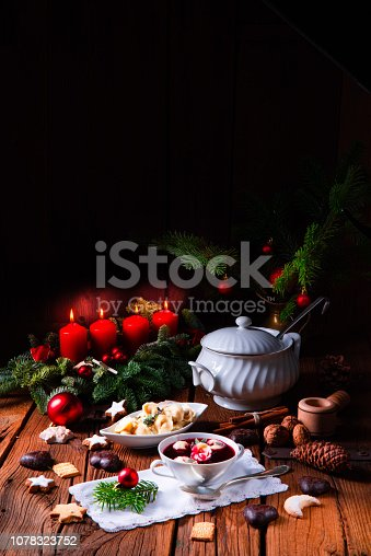 istock Christmas beetroot soup- borscht with small dumplings 1078323752