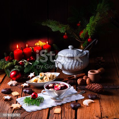 istock Christmas beetroot soup- borscht with small dumplings 1078323762