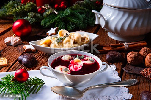 istock Christmas beetroot soup- borscht with small dumplings 1081880406