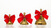 istock Christmas bell, golden christmas,  red bow, bow tie, merry christmas, christmas ornament, silver, christmas decoration, xmas decoration 1212878132
