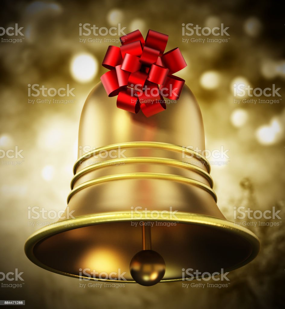 Christmas bell with red ribbon on abstract background stock photo