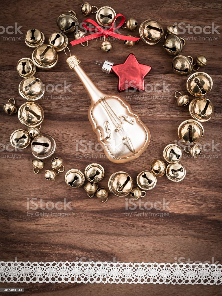Christmas, bells on wood, christmas decoration, cello and star stock photo