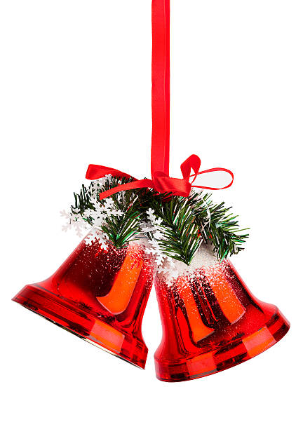 Christmas bells with a red bow stock photo
