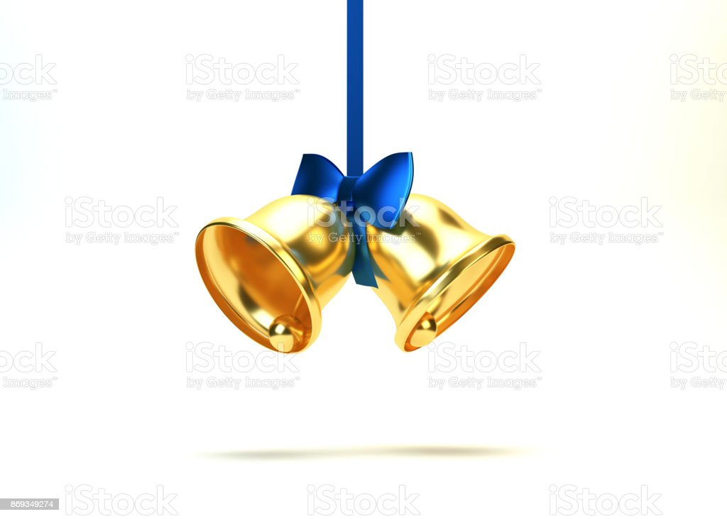 Christmas Bells With Blue Bow. On White stock photo