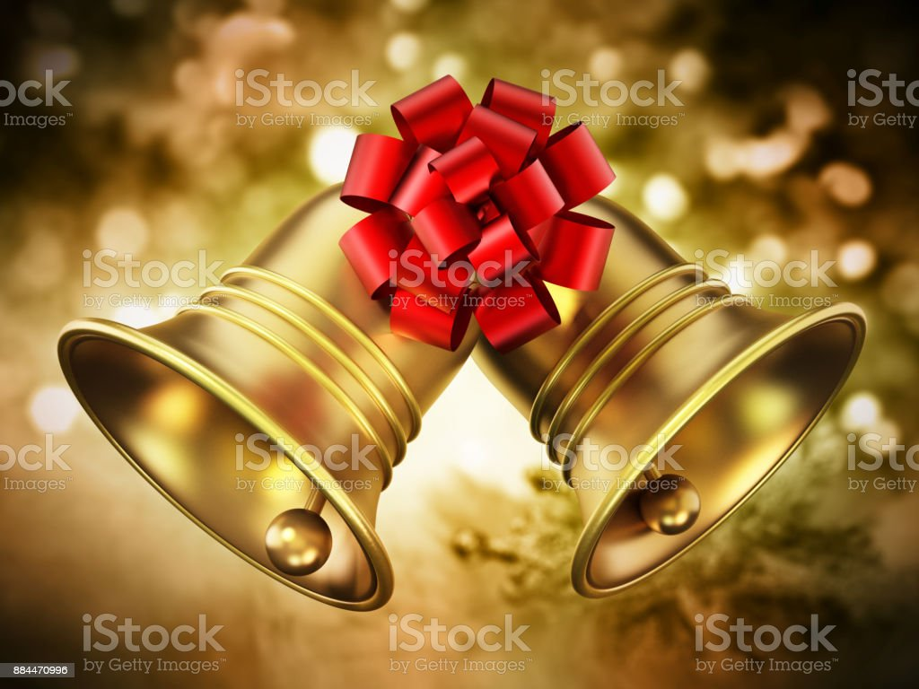 Christmas bells with red ribbon on abstract background stock photo