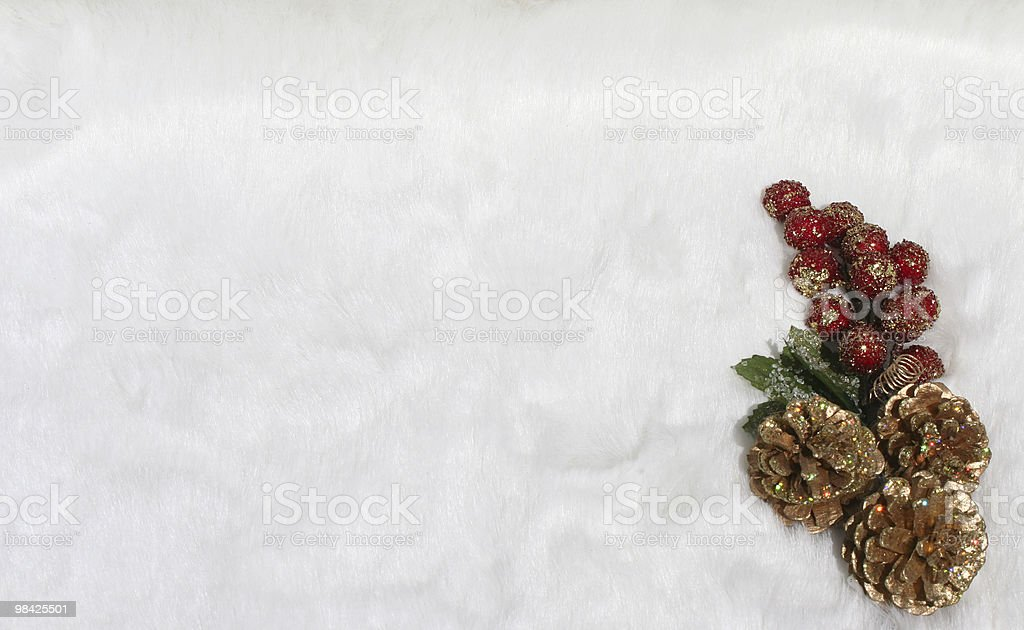 Christmas berrries and cones on snow royalty-free stock photo