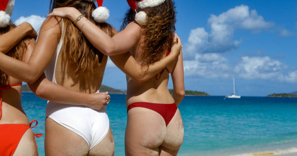 Christmas bikini girls in santa's hats on tropical beach Christmas bikini girls in santa's hats on tropical beach in the Caribbean hot sexy butts stock pictures, royalty-free photos & images