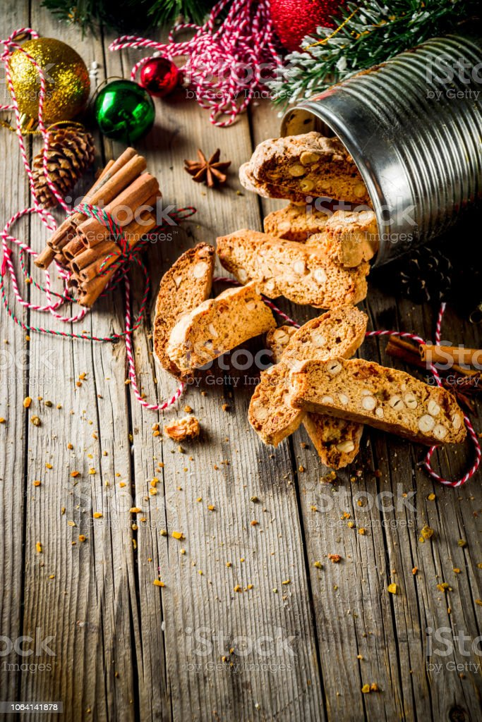 Christmas biscotti or cantuccini stock photo