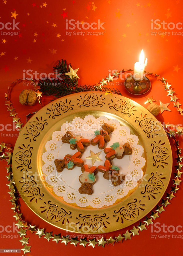 Christmas biscuits on plate stock photo
