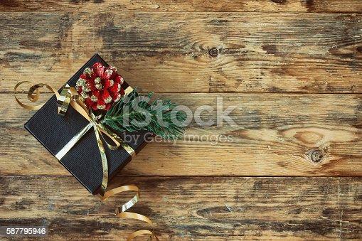 istock Christmas black gift box 587795946