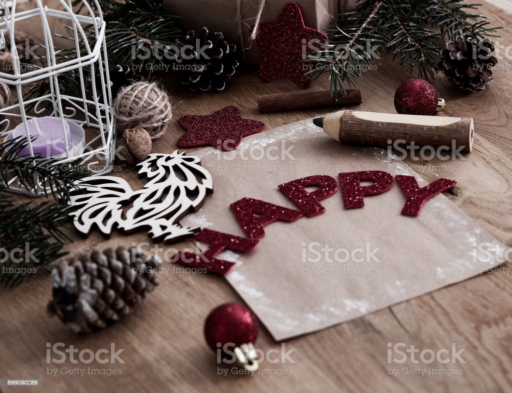 Christmas blank card on wooden background .the concept of the ce stock photo