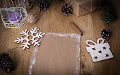 Christmas blank greeting card on vintage background