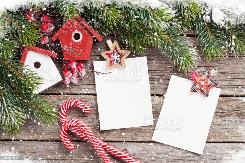 Christmas Blank Photo Frames Birdhouse Decor Stock Photo More