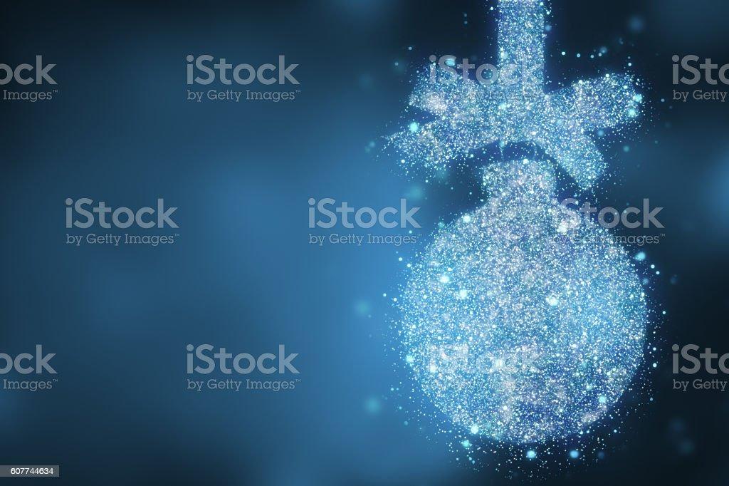 Christmas blue bauble shape over magic bokeh  background stock photo