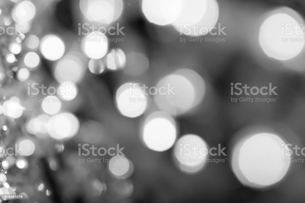 Christmas bokeh lights refocused blurred background, Abstract texture. stock photo