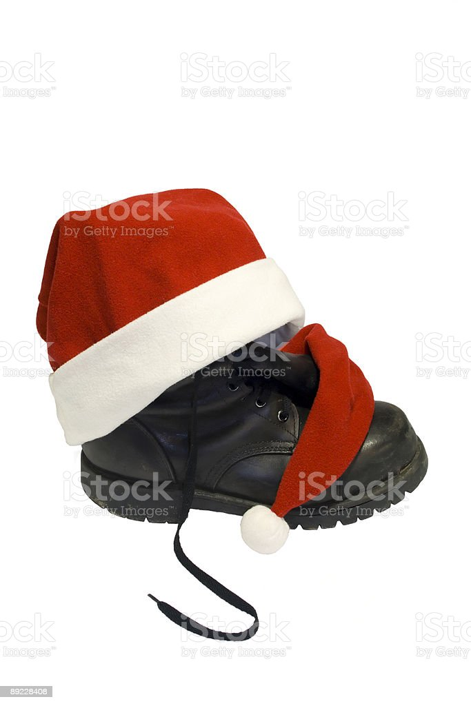Christmas boots stock photo