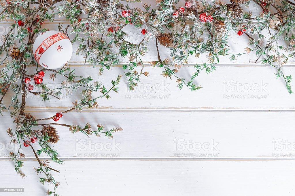 Christmas border design with snow covered pinecones zbiór zdjęć royalty-free