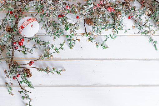 Christmas Border Design.Christmas Border Design With Snow Covered Pinecones Stock Photo Download Image Now