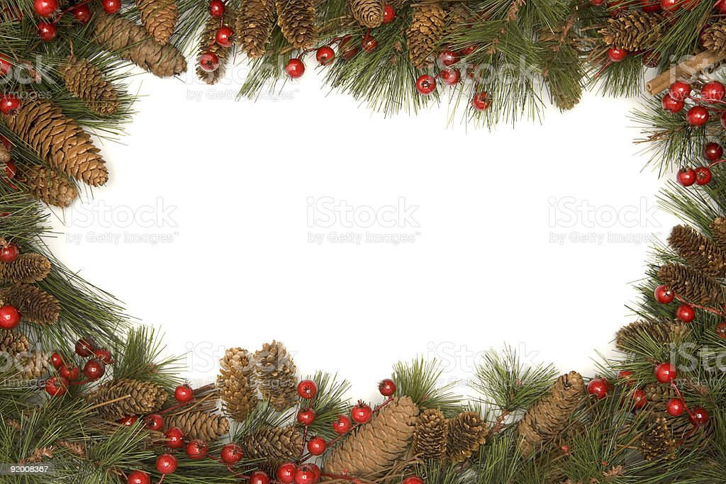 Christmas border of pine branches royalty-free stock photo