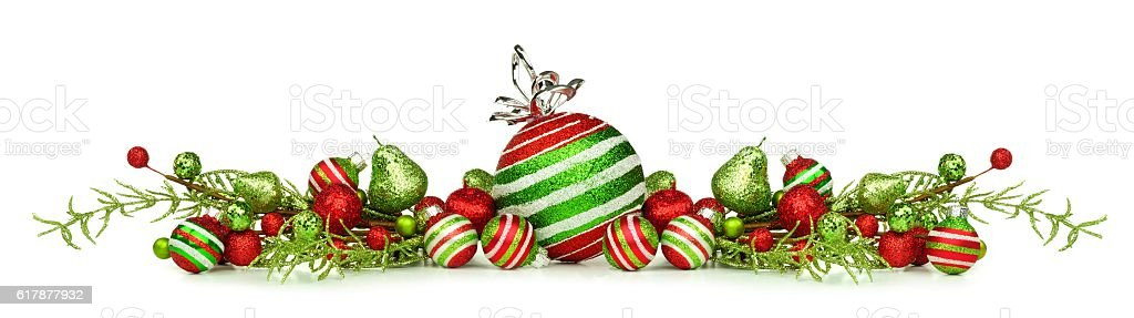 Christmas Border Of Red Green And White Ornaments And Branches Stock