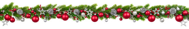 Christmas border on white, hanging decorated garland stock photo