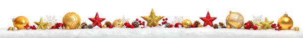 Christmas border or banner with stars and baubles, white background stock photo